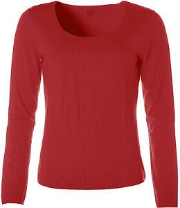 Jette Damen Basic Langarm Shirt T-Shirt Rundhals Rot 40 X4876