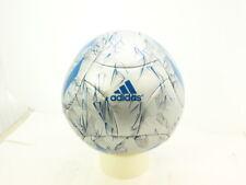 adidas Messi Soccer Ball, Silver Metallic Grey/Shock Blue/Vista Grey, Size 5