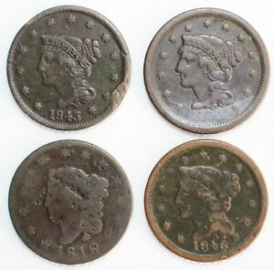 4 Coin Lot US Copper Large Cent CULL or Lower Grade Coins 1818-1846 Circulated