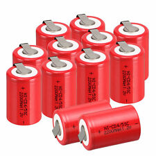 1.2V 2200mAh Red NiCd 4/5 SubC Sub C NEW Ni-Cd Rechargeable BatteryTab 12pcs