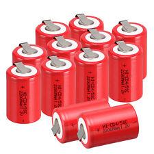 1.2V 2200mAh Red NiCd 4/5 SubC Sub C NEW Ni-Cd Rechargeable BatteryTab 12pcs