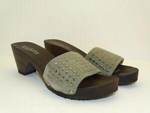Softclox Sandalen Clogs Holz Pantoffeln Taupe Echtleder NEU 42