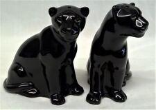More details for quail ceramic black panther salt & pepper pots condiment or cruet set animal cat
