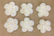6 Pearl Edged Ivory Burlap Flowers 6cm Scrapbooking, Cake Decorating, Weddings