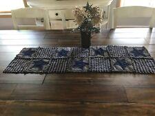 NEW Plaid Homespun PriMiTivE Rag Quilt Table Runner Mat Navy Blue Stars Tan