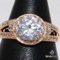 Sparkling Round Diamond Ring Women Birthday Jewelry Gift 14K Rose Gold Plated