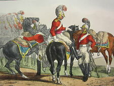 1892 HAND COLOURED MILITARY PRINT ~ A PARTY OF LIFE GUARDS (1821)