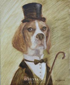 Original English Pointer Dog Oil Painting Animal Pet Portrait Art M.Bevia