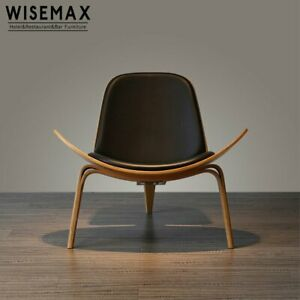Replica Lounge Shell Chair Top Grain Leather Living Dining Room Bedroom Chair