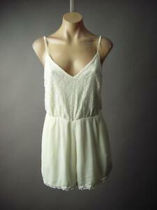 Sale Ivory Crochet Lace Cami Strappy Gauzy Shorts Jumper 185 mv Romper S M L