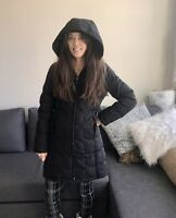 Kenneth Cole Reaction Women's Hooded Black Winter Down Coat Medium