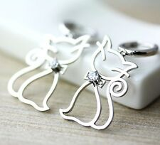 Womens Kitty Earrings Sterling Silver Cat Shape Frame Animal Bow w Crystal