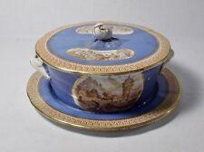Antique F & R Pratt & Co. Fenton England Covered Dresser Trinket Box Dish