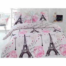 Paris Eiffel Tower Pink Bedding Duvet Quilt Cover Set Double Size DHL EXPRESS