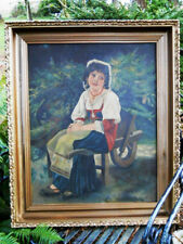 Garden Portrait Oil Painting French Country Bohemian Girl Wheelbarrow Peasant