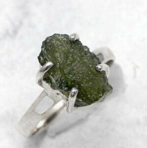 Size 8 US. Rough Moldavite 925 Sterling Silver Ring Light Weight Moldavite Ring SALE Moldavite Meteorite Ring Natural Moldavite Ring
