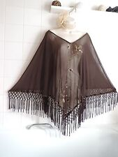 Joanna Hope Vintage 1920's Sequin PONCHO Fringe Deco Flapper Gatsby Shawl Cape