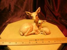 DEER CERAMIC FIGURINE Mom & Fawn Creme Colored