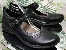EARTH BLACK LEATHER MARY JANES LOAFERS SLIP ON DRESS WORK SHOES WOMENS SZ 11 A