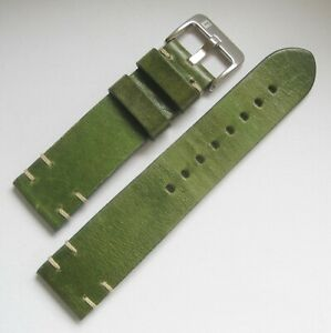 Mens 22mm ColaReb SIRACUSA Green Stitched Made in Italy Leather Watch Band Strap