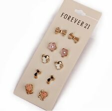 E725 B Forever 21 Flower Pearl Love Elephant Cat 5 Pairs Set Stud  Earrings US