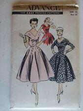 Vintage 1956~Advance~Uncut~Dress w/ Full Skirt ~Sewing Pattern~Women #7935~Sz 12