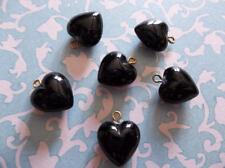 Jet Black Heart Charms Pendants Earring Findings 9mm Brass Loop Made in Germany