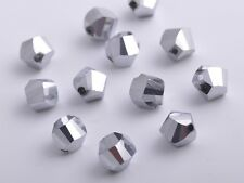 30pcs 10mm Twist Helix Crystal Glass Finding Loose Spacer Beads Silver Plated