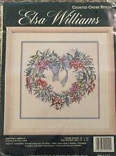 """JCA Heartfelt Wreath Counted Cross Stitch Kit 02044 Elsa Williams 12""""x12"""" NIP"""