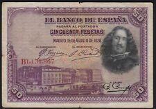 1928 50 Pesetas Spain Vintage Old Paper Money Spanish Banknote Currency F