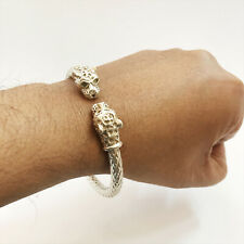 Fine Jewelry 18 Kt Hallmark Real Solid White Gold Snake Face Men'S Bracelet 6 MM
