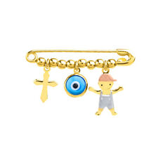 Solid 14k Tri Color Gold Boy Charm with Blue Eye and Religious Cross Safety Pin