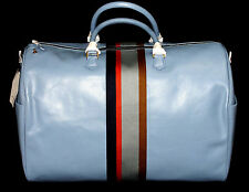 BNWT LUXURY RARE MENS PAUL SMITH LONDON 100% LEATHER WEEKEND GYM BABY BLUE BAG
