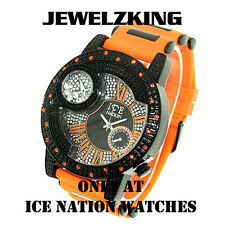 Mens Orange/Black Ice Nation Watch Iced Out Hip Hop Bullet Band Wrist Watch