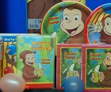 Curious George Party Set # 7  Invites Plates Napkins Candles for 8 Guests