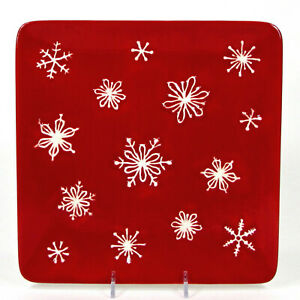 """St. Nicholas Square TREE LOT 9.5"""" Salad Plate Red White Embossed Snowflakes"""