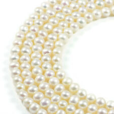 Freshwater Pearl 6mm White Pearl Round  Jewellery Making Beads on 15.5 inch S...