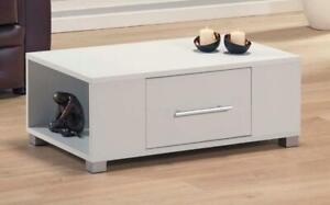 White Coffee Table With Storage Drawer and Shelves Silver Handle Feet Seconds