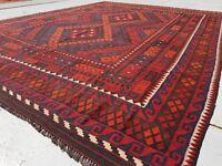 10'7 x 8'2 Large Handmade Afghan Kilim Tribal Area Rug Wool Kelim Carpet #4809