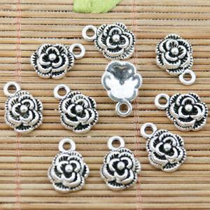 40pcs tibetan silver color rose flower charms EF2366