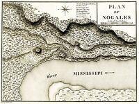 MAP ANTIQUE PLAN MILITARY FORT NOGALES MISSISSIPPI RIVER VICKSBURG PRINT LV2133