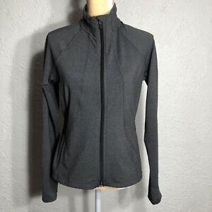 Athleta Hope Herringbone Jacket in Shale Brown Zip Up Stretchy Size M