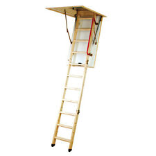 Youngman Wooden Timber Folding Loft Ladder Frame / Hatch & Handrail Eco S Line