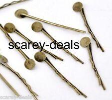 10  x  4.4CM   BRONZE kirby Grips bronze Bobby Pins Hair Clip 8MM Glue Pad