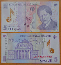 Romania Polymer Plastic Banknote 5 Lei 2005 UNC