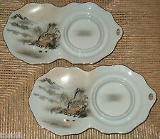 (2) Old Hand Painted KUTANI China Mount FUJI Snack Plates w/ Cup Holders - Japan