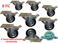 "Caster Wheels 4"" Swivel Caster w/Double Bearing Brake 8 PCS"