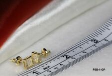 MENS / WOMENS GOLD PLATED STERLING SILVER CLEAR CZ SCREW BACK PAVE STUD EARRINGS