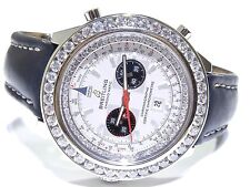 Breitling Chronomatic Silver Dial Chronograph on Black Leather Strap 6ct A41360