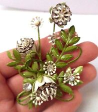 "STUNNING VINTAGE ESTATE HIGH END RHINESTONE ENAMEL FLOWER 3"" BROOCH!!! 6844S"